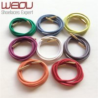 Weiou Gold metal aglets dress shoe strings waxed colored shoelaces round waterproof laces 70cm 27.5'' for leather shoes