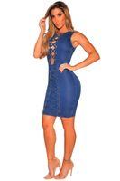 Wholesale Bodycon Sleeveless Denim Dress - Sexy Denim Pencil Mini Dress Women Blue Slim High Waist 2017 Summer Bodycon Party Night Club Vest Tank Dresses Femme