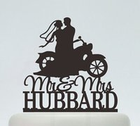 Wholesale Wedding Topper Silhouette - Wholesale- custom glitter Wedding Cake Toppers ,Bride And Groom On motorcycle Silhouette party decorations