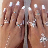 Wholesale ethnic silver rings - Wholesale- 7 Pcs Set Boho Ethnic Vintage Antique Silver Arrow Antler Midi Knuckle Ring for Women