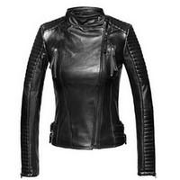 kızlar deri motosiklet ceketleri toptan satış-Deri Ceket Kadın Ceketler Coat Slim Biker Motosiklet Yumuşak Fermuar kız Deri Jaquetas De Couro feminina kadın giyim