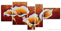 Wholesale Large Yellow Abstract Oil Painting - Fashion Canvas Painting Yellow lily Pictures hand-painted On Canvas Large 5 Piece Wall Pictures For Living Room Bedroom Office h52