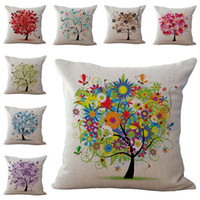 Wholesale Flower Throw Pillow - Colors Tree of Life Flower Pillow Case Cushion Cover Linen Cotton Throw Pillowcases Sofa Car Pillowcover PW654