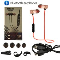 Wholesale Mobile Bluetooth Earpiece - For iphone 7 8 noise reduction Sports bluetooth headphones SweatProof Earphone Magnetic Earpiece Stereo Wireless Headset for Mobile Phone
