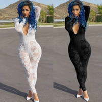 Wholesale Women Lace Romper - New Design Deep V Neck Sexy Burn Hollow Out Mesh Stitching One Piece Jumpsuit Club Sexy Women Rompers Women Lace perspective Jumpsuit Romper