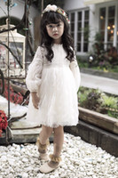 Wholesale Bubble Sweet - 2017 New Sweet Girl Dress Kids Girls Clothes Dresses Spring Lace Dressy Long Sleeve Tulle Layer Brand Bubble Party Dress White Pink A6074