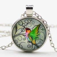 Wholesale Wholesale Wood Wings - Latest Wood Nymph Design Glass Gem Crystal Pendant Necklace Cute Green Wings Humming Birds Sweater Chain For Girls Women Children