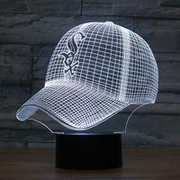 Wholesale Usb Baseball - Free Shipping Fashion LED 3D Illusion Night Light Chicago White Sox Baseball Team Cap 7 Color American Baseball Hat Decor Bulb USB lamp