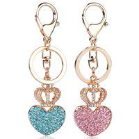 Wholesale Rhinestone Crown Keychain - Rhinestone Heart Crown Keychain Charm Women Handbag Pendant Keyring Lover Crystal Key Holder Bag Accessory Lovers Gift