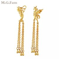 Wholesale Gold Chandelier Earrings For Bridal - MGFam (425E) Dragon and Phoenix Drop Earrings For Women Wedding Bridal jewelry 18k Gold Plated Classic Style Lead and Nickel Free
