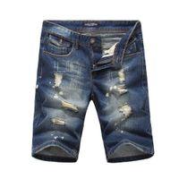 Wholesale Destroyed Jeans Shorts - Wholesale- 2016 Summer bermudas mens shorts casual blue jeans men straight jeans Slim waist shorts destroyed breathable masticate 8