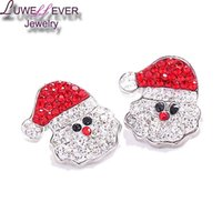 Wholesale Clasp Hat - High qualit Christmas hat W085 18mm 20mm rhinestone metal button for snap button Bracelet Necklace Jewelry For Women Silver jewelry
