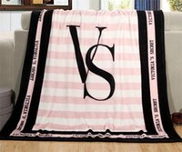 Wholesale Soft Carpets - Fashion VS Pink Letter Blanket Soft Coral Velvet Rug Beach Towel Blankets Air conditioning Rugs Comfortable Carpet 130*150cm G120
