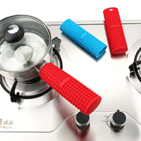 Wholesale Heating Grips - Slicone Pot Pan Handle Holder Sleeve Cover Heat Resistant Holder Safe Handle Mitts Grip Saucepan Holder 3 Colors OOA2572