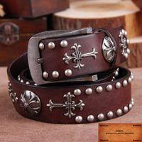 Wholesale Gothic Trend - Wholesale- 2016 New Men Gothic belt personality trend rivets belts steam punk Skeleton rock belt Retro genuine leather Cinto