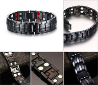 Wholesale Titanium Health Bracelets - Hottime Double Row Black Gun Plated Men Health Magnetic Bracelet Titanium Steel Bracelets For Man Magnet Active Powerful Balance B811S