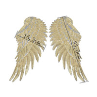 Wholesale ribbons for clothes online - Sequins Patch DIY Angel Wings Patches For Kids Clothes Sew on Embroidered Patch Motif Applique Sticker For Cloth Freeshipping