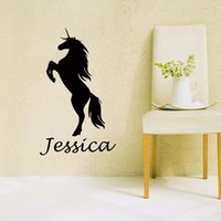 Wholesale Classic Lighting Products - New Product For Personalised Name Unicorn Wall Art Girls Kids Bedroom Custom Vinyl Decal Funny Sticker Diy Decor
