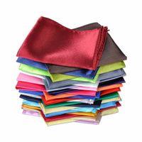 Wholesale Mens Silk Handkerchiefs Wholesale - New Mens Polyester silk Satin Solid Plain Color Handkerchief Wedding Party Hanky Pocket Square Handkerchief