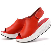 Wholesale Peep Toe Wedge Platform - 2017 Summer Women Sandals Peep Toe Swing Shoes Ladies Platform Wedges Sandals Woman Sandalias Zapatos size 35- 43