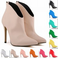 Wholesale Work Boots 11 - 11 Colors Zapatos Mujer Fashion Womens Pointed Toe Faux Leather High Stiletto Heel Platform Ankle Boots Ladies Shoes 4-11 D0031