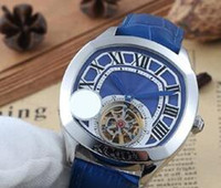 Wholesale Leather Butterfly Belt - dhgateSelected Store luxury brand watches men blue dial blue leather belt watch tourbillon Drive de automatic see through watch mens watches