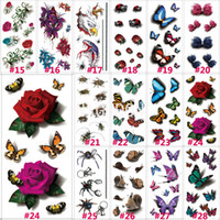 Wholesale Temporary Glitter Waterproof Tattoos - Wholesale-1 PC 190x90mm 3D Chest Sleeve Tattoo Stickers Glitter Temporary Tattoos Fake Rose Butterfly Bows For Body Leg Waterproof N3DLOT1