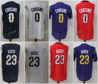 Wholesale Basketball Player Names - 2017 New Style 0 DeMarcus Cousins Jersey Men Basketball 23 Anthony Davis Jerseys Stitched Navy Blue White Red Purple With Player Name