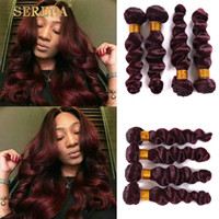 Borgonha Peruvian Human Hair Weaves Loose Wave 4pcs Full Head 99j Hair Extensions Boa qualidade Cheap Red Wine Red Loose Curly Bundles