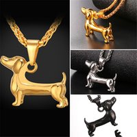 Wholesale dachshund pendant - U7 Trendy Animal Pet Dachshund Dog Pendant Necklace Sausage Dog Collier Stainless Steel Gold Black Gun Plated Rope Collar Accessories GP2462