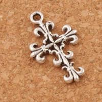 Wholesale filigree pendants - Filigree Flower Cross Charm Beads Pendants 200pcs lot Antique Silver 22.8x14mm Charms Jewelry DIY New Items L414