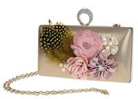 Wholesale Pearl Ring Clutches - Fashion Elegant Flower Feather Pearl Rhinestone Ring Clutch Banquet Bag Purse Wedding Bridal Handbag Chain strap 7 color For choose 0317