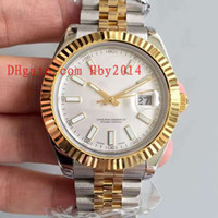 Wholesale Gentleman Watches - Top brands Luxury 18K Yellow gold 41MM white dial Mens Automatic Datejust Mechanical wristwatches Gentlemen dress watch China AAA quality