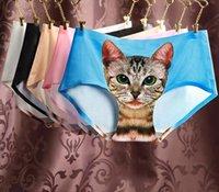 Wholesale Waist Sexy Underwear For Women - 2017 Ladies Underwear Cat Panties Sexy Mid Waist Underwear Comfort Briefs Animal Panties For Women Nylon Panties