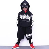 Wholesale Kids Dance Outfits - Boys sport suit autumn girls clothing set school teenager boy dance wear kids tracksuit casual hip-hop child set boy outfit 2pcs 1018#