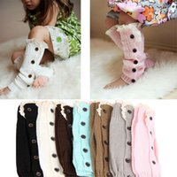 Wholesale Warm Boots For Baby Girls - Baby Girl Knitted Leg Warmer leg warmers Socks Button Crochet Knit Boot Covers Leggings Toppers Lace Cuffs Fall Winter Socks For 6-12T Kids