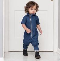 Wholesale Childrens Jumpsuits - 12M-3T Boys Baby Romper Childrens Jumpsuits Clothing Cotton Denim Zipper Rompers Spring Autumn Long Sleeve Toddler Onesies Bodysuit Clothes