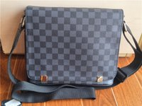 Wholesale Buckle Messenger Bags - Men classic black lattice boxed square designer bag without zipper buckle parcel with rope can be adjusted