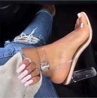 Wholesale Size35 High Heels - 2017 PVC Jelly Sandals Open Toe High Heels Women Transparent Perspex Slippers Thick Heel Clear Sandalias Gladiator size35-43
