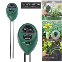 bodenfeuchtigkeitssensoren großhandel-3-in-1-Bodenfeuchtemessgerät für die Gartenarbeit Landwirtschaft mit PH-Säure Feuchtigkeit Sonnenlichtprüfung Garten Rasen Pflanzentopf Sensor Tool OOA2997