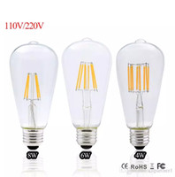 Vintage 12v Lights Pas Cher-2017 Led Edison ampoule E27 Dimmable Vintage Led Filament 4W 6W 8W ST64 220V 110V Retro Edison ampoules Led lampe Replace Incandescent Lights