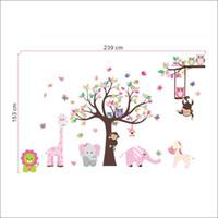 maymun çocuklar dekor toptan satış-Gökkuşağı Fox Jungle Zoo ile Baykuş Maymun Duvar Çıkartması Duvar Kağıdı Duvar Sticker Duvar Dekoru İçin Kid Odası Anaokulu Ev Dekorasyon Zy