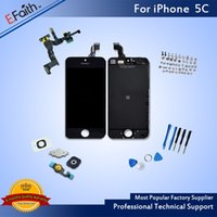Wholesale Bars Accessories - For iPhone 5C Grade A+++ With Home Button and Front Camera Black LCD Screen Display Digitizer Assembly With Accessories & Free Shipping
