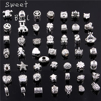 Sweet Bell 50 Pcs / lot 925 Prata Big Hole Beads Fit Antique Silver Metal Zinc Alloy Mixed DIY Beads Charm for Bracelets D0955