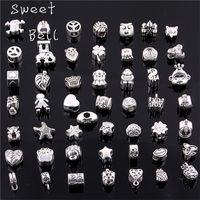 Wholesale Charms Zinc Alloy Big Hole - Sweet Bell 50 Pcs lot 925 Silver Big Hole Beads Fit Antique Silver Metal Zinc Alloy Mixed DIY Beads Charm for Bracelets D0955