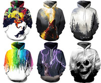 Wholesale Fall Hats - New Christmas 2017 fashion Galaxy men women's fall Autumn winter pullover hoodies sweatshirt Long Sleeve Hoodies 3D print With Hat Plus Size