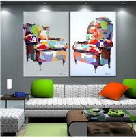 Wholesale painted art chairs resale online - Handmade Decor Art Painting on Canvas Abstract Chairs Picture for Home Wall Decoration Support Drop Shipping Two Picture Combined