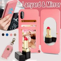 Carte De Portefeuille Doux Iphone Pas Cher-Portefeuille Flip Miroir Case Longe Avec Suspendu Corde Sling Card Slot Doux TPU Antichoc Couverture pour iPhone X 8 7 Plus 6 6S Samsung S8 Note 8
