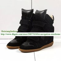 Wholesale Wedge Platform Clear - Top Quality Luxucy Brand Style New Women Genuine Leather Buckle Wedge Ankle High Height Increasing Platform Patchwork Casual Shoes
