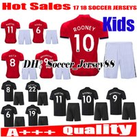 Wholesale Baby Blue Spandex - Top quality 2017 2018 kids Man United child Soccer jersey kits 17 18 baby boy Ibrahimovic MEMPHIS ROONEY POGBA Children Football shirts
